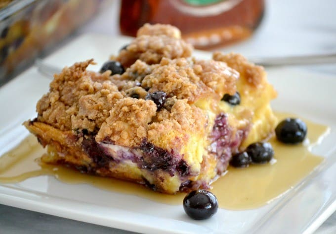 Blueberry Cream Cheese French Toast - fresh blueberries, challah bread and cream cheese made the night before for a delicious breakfast the next morning!