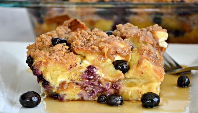 Blueberry Cream Cheese French Toast - fresh blueberries, challah bread ...