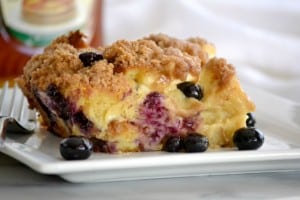 Baked Blueberry Cream Cheese French Toast - fresh blueberries, challah bread and cream cheese made the night before for a delicious breakfast the next morning!