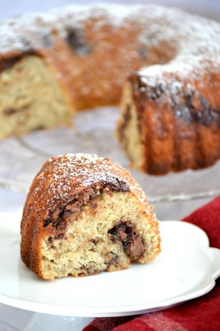 This Nutella Swirl Banana Bundt Bread is Nutella mixed in to a banana bread batter and shaped into a beautiful bundt cake - perfect with a cup of coffee!