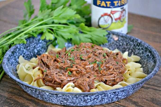 An easy dinner made in the slow cooker, this Chili Beer Pot Roast can also be made with with beef broth if you'd prefer no alcohol.