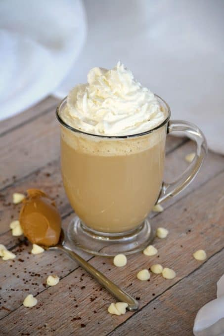 Cookie Butter White Chocolate Mocha - Folgers Instant Coffee Crystals, cookie butter, melted white chocolate, milk and cream.