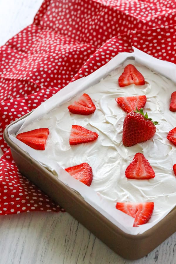 A pan of Strawberry Cheesecake Dream Bars.
