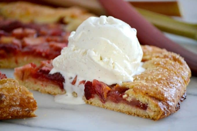 This Strawberry Rhubarb Galette is a flour and cornmeal crust filled ...