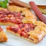 This Strawberry Rhubarb Galette is a flour and cornmeal crust filled with a strawberry-rhubarb filling. It's easy to make and is a perfect summer dessert.