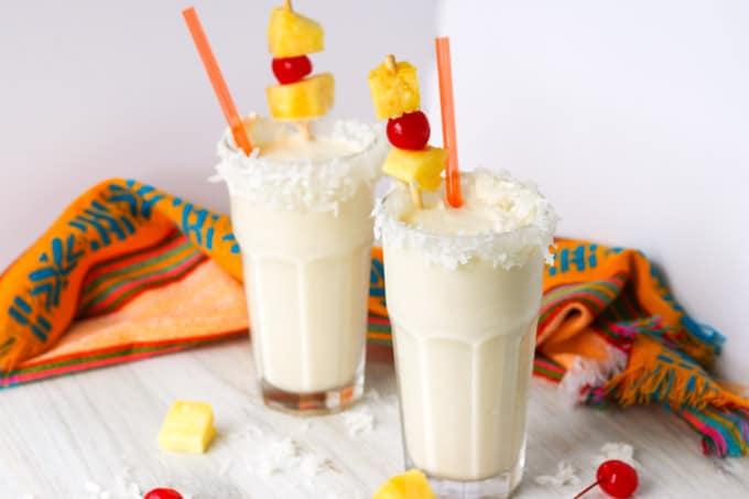 Milkshakes with rum, pineapple, ice cream and cream of coconut.