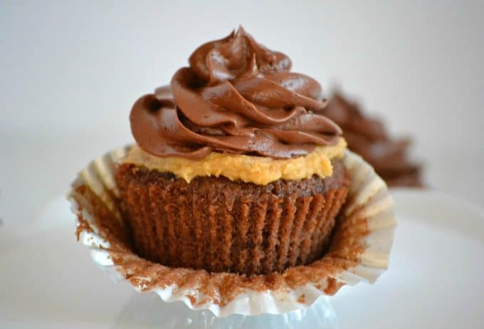 Double Chocolate Peanut Butter Filled Cupcakes - double chocolate cupcakes with a peanut butter cream center topped with chocolate buttercream.