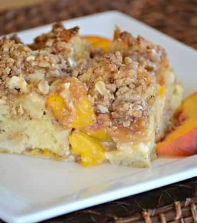 This Peaches and Cream Baked French Toastis made of peaches, cream cheese, French Bread and an egg mixture to make it the perfect seasonal breakfast a favorite everyone's sure to love.