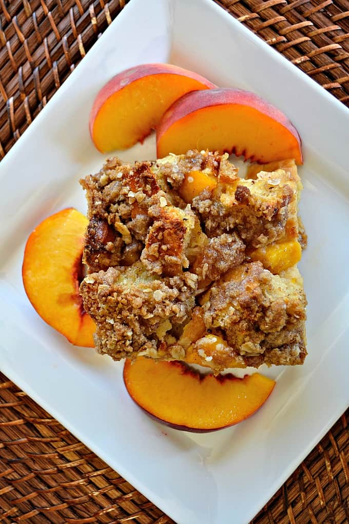 Peaches and Cream Baked French Toast