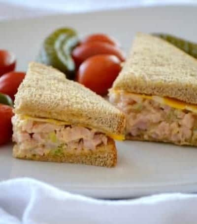 This Easy Ham Salad with chopped ham, mayo, mustard, pickle relish and a touch or Sriracha will make this sandwich fixing a new back-to-school favorite.