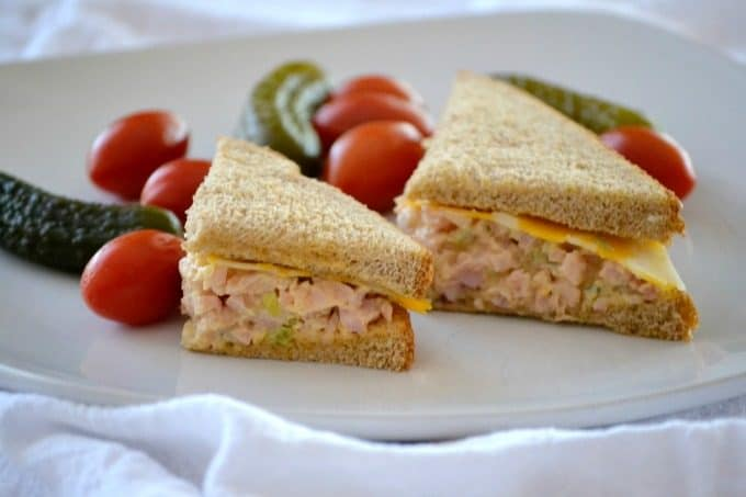 This Ham Salad with chopped ham, mayo, mustard, pickle relish and a touch or Sriracha will make this sandwich fixing a new back-to-school favorite.
