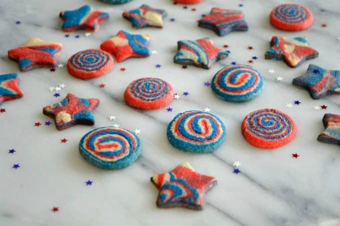 These Patriotic Pinwheel and Star Cookies are made from one sugar cookie dough with three colors to make your Patriotic celebration colorful and festive!