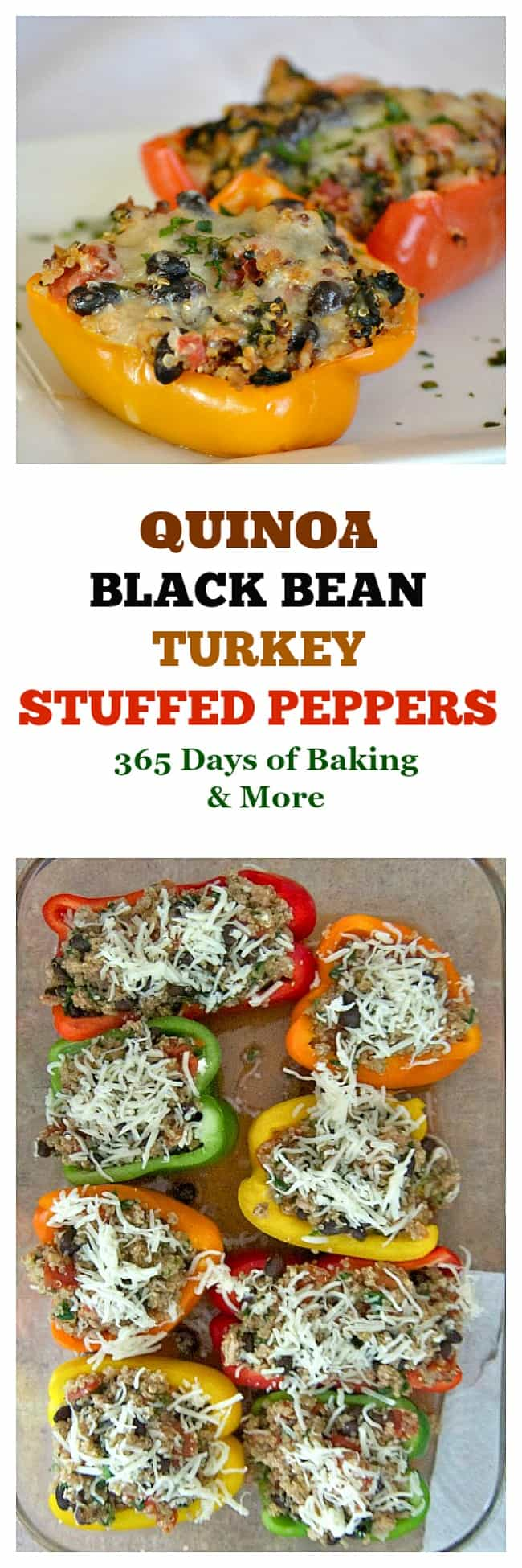 Quinoa, Black Bean and Turkey Stuffed Peppers - colorful bell peppers stuffed with quinoa, black beans and turkey that will satisfy any hungry appetite.