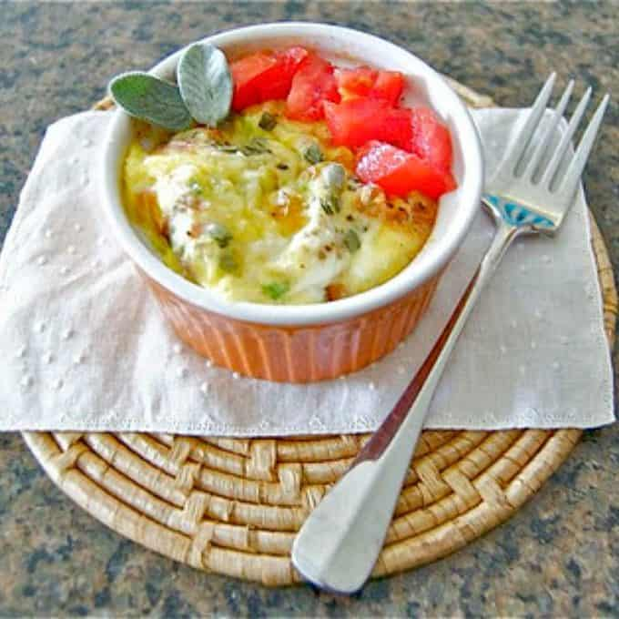 Sage and Ham Baked Eggs