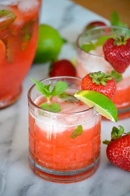 Fresh strawberries give the classic mojito a refreshing twist. These Strawberry Mojitos will be your new favorite drink of summer!