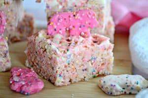 Circus Animal Cookie Rice Krispie Treats bring out your little kid with the crushed Circus Animal Cookies, colored nonpareils and drizzled chocolate.