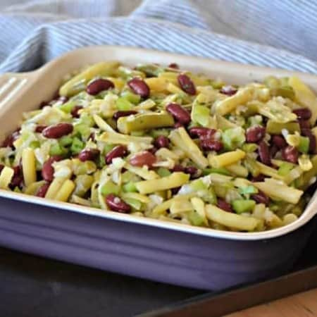 This Easy Three Bean Saladwith green beans, wax beans and kidney beans marinated in a simple vinegar dressing is a great side dish with dinner for those hot summer nights.