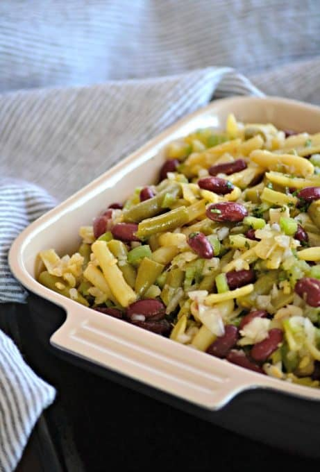 This Easy Three Bean Salad with green beans, wax beans and kidney beans marinated in a simple vinegar dressing is a great side dish with dinner for those hot summer nights.