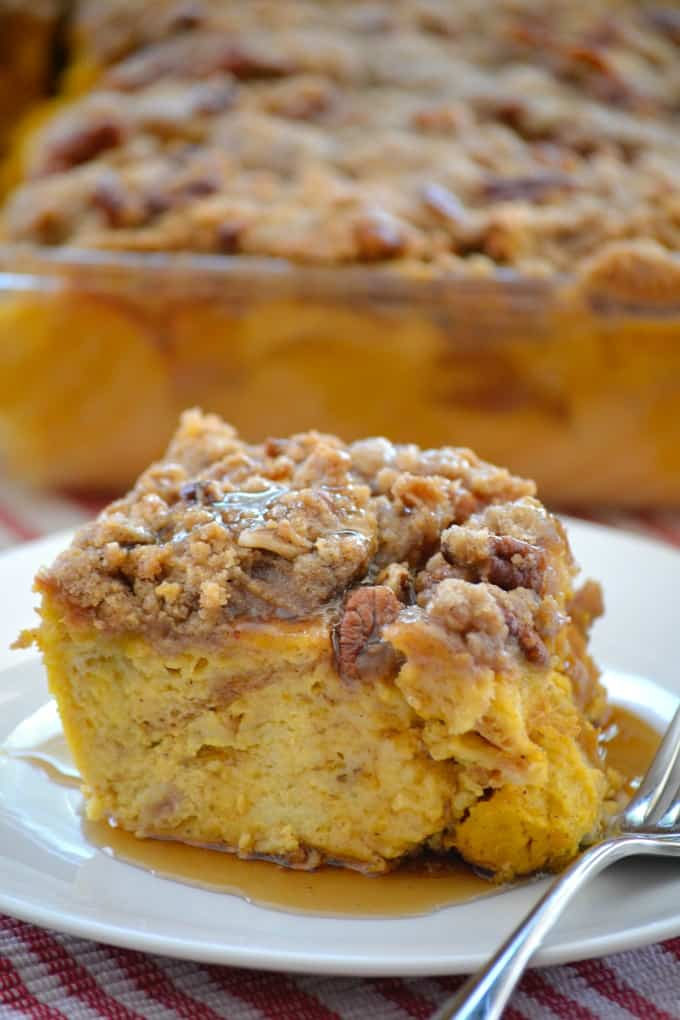 Pumpkin Spice Baked French Toast - the wonderful flavors of Fall in a breakfast treat you can prepare the night before. Pop it into the oven the next day and it's a delicious meal to warm you up on a cool, crisp day.