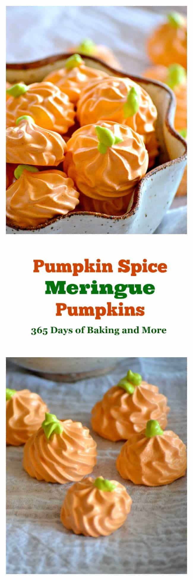 Pumpkin Spice Meringue Pumpkins - flavored with the great taste of Fall, this colorful treat will please both kids and adults. They'll be the perfect addition to your Halloween or Thanksgiving dessert tables!