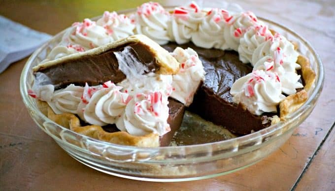 This Chocolate Peppermint Cream Pie is sure to be a big crowd pleaser during the holidays with its' smooth creamy chocolate filling and McCormick Pure Peppermint Extract. Santa might even choose this over cookies!