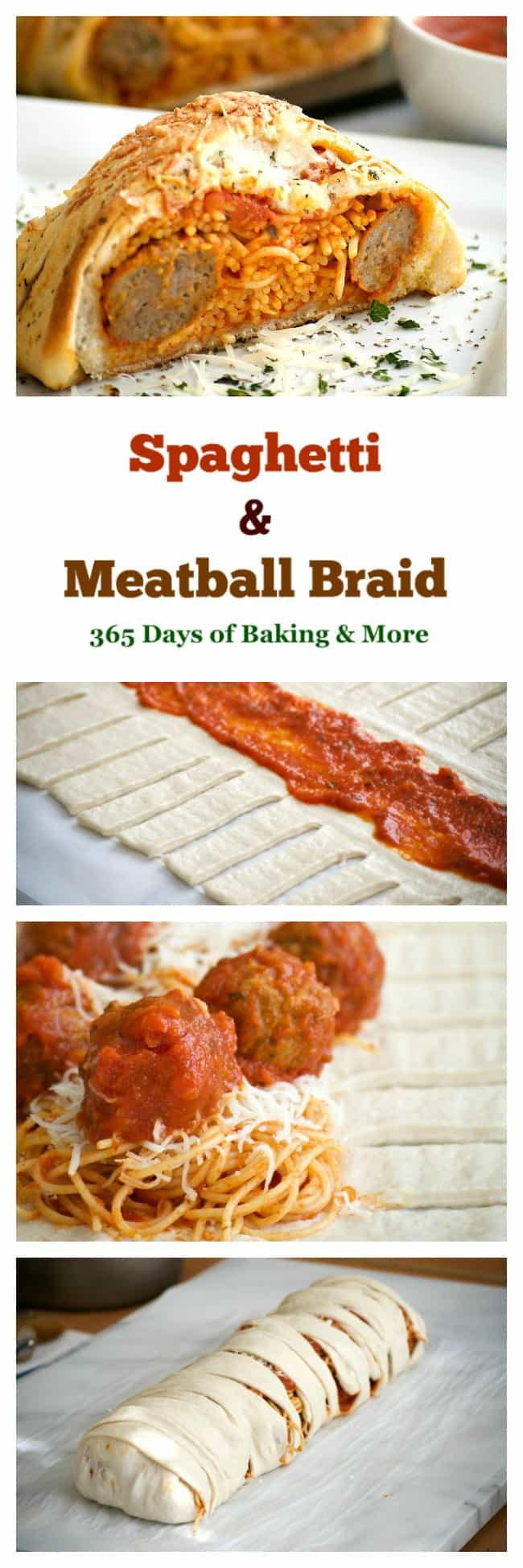 This Spaghetti and Meatball Braidis a new twist on good ol' comfort food - spaghetti and meatballs in pizza dough! It's a fun new way to feed the family.