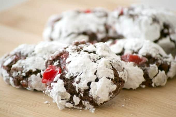 These Chocolate Cherry Crinkles are a chocolate crinkle cookie with maraschino cherries. If you like chocolate covered cherries, this cookie is for YOU!
