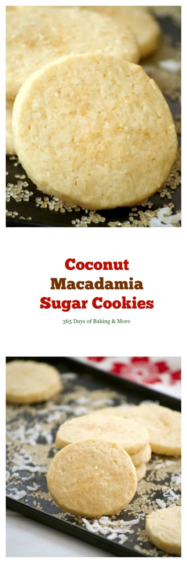 This Coconut Macadamia Nut Shortbread is a butter shortbread cookie with shredded coconut and macadamia nuts to remind you of the tropics.