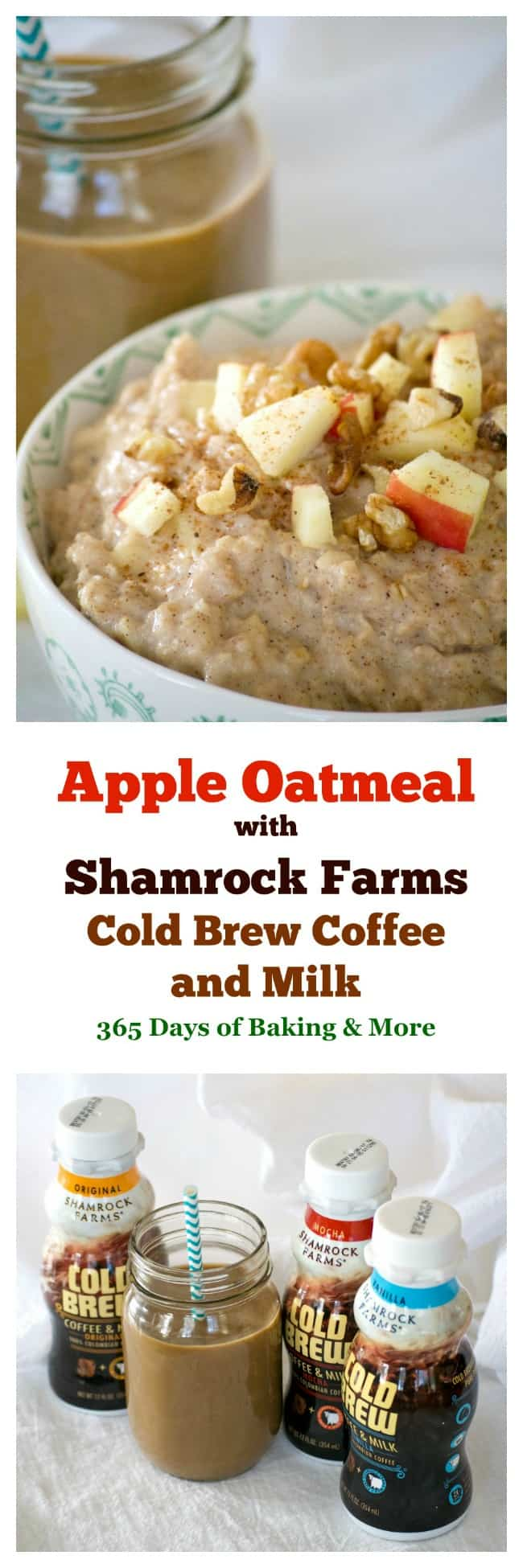 Enjoy one of three NEW flavors of Shamrock Farms Cold Brew Coffee and Milk at breakfast or any time of day. It pairs perfectly with a warm bowl of Apple Oatmeal in the morning!