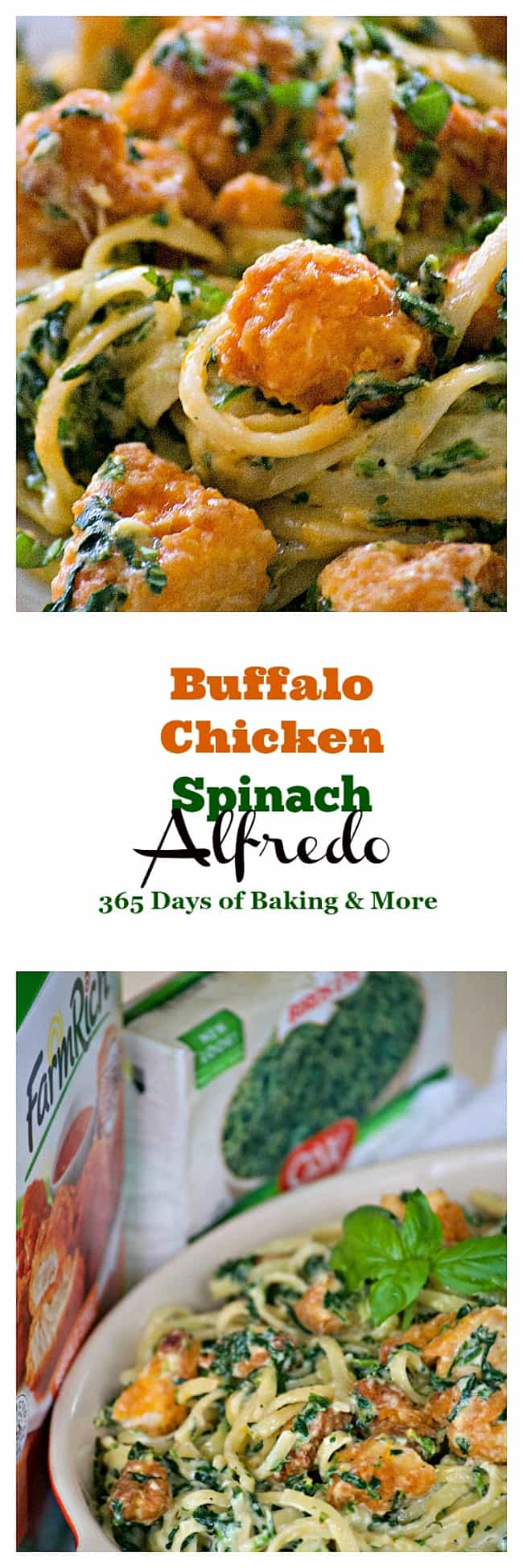 This Buffalo Chicken Spinach Alfredo with Buffalo chicken, chopped spinach, pasta and a homemade Alfredo sauce is an easy dinner that the family will love.