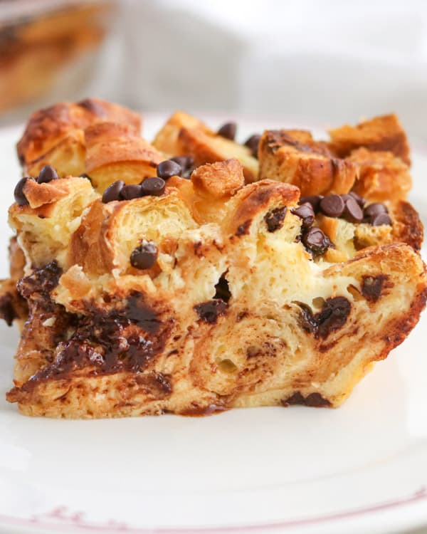 A slice of Chocolate Croissant Baked French Toast.
