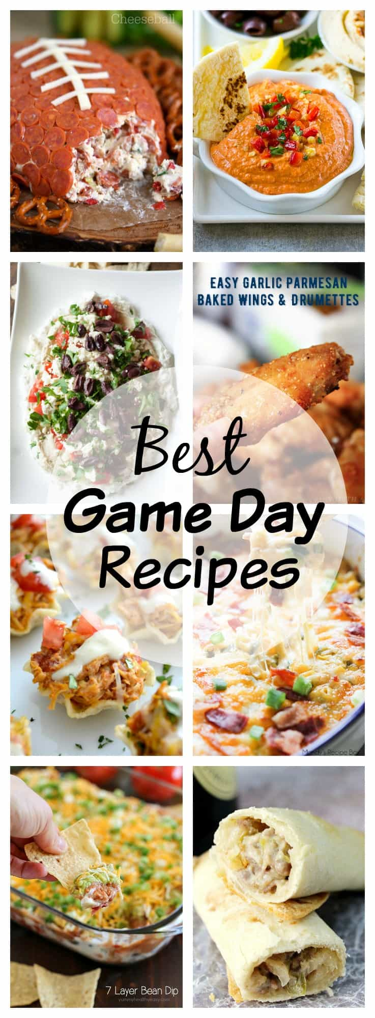 Best Game Day Recipes - a collection of delicious wings, dips, wraps and more to make sure no one goes hungry while watching the big games.