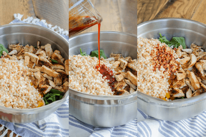Process or making Couscous Chicken Salad