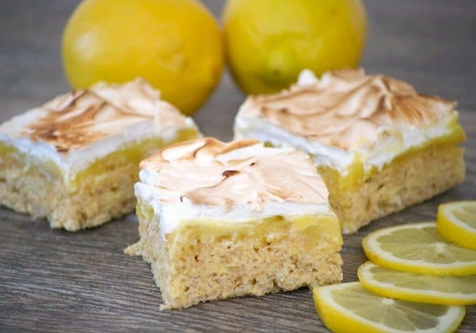 These Lemon Meringue Rice Krispie Treats with their lemony Rice Krispies crust, fresh lemon curd and toasted meringue will make you swoon and ask for more!