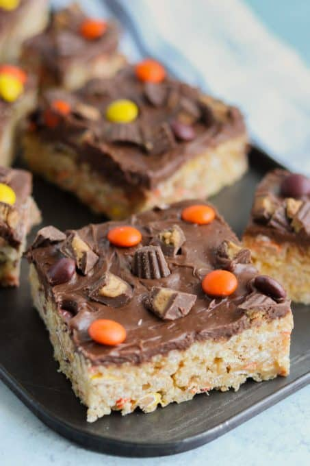Chocolate frosted peanut butter Rice Krispies Treats