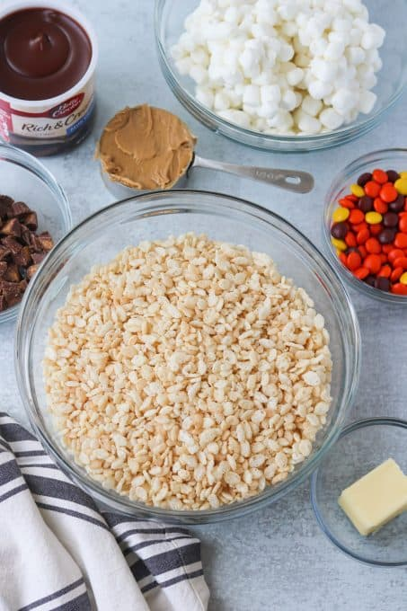 Ingredients for Peanut Butter Rice Krispies Treats.
