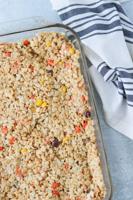 Rice Krispies Treats in the pan.