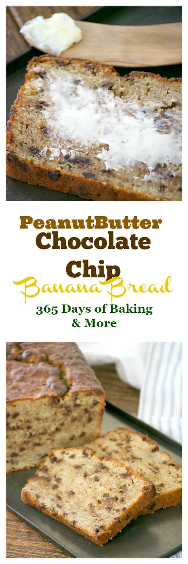 Better than regular banana bread, this easy and delicious Peanut Butter Chocolate Chip Banana Bread will bring you back to Grandma's kitchen and beyond!
