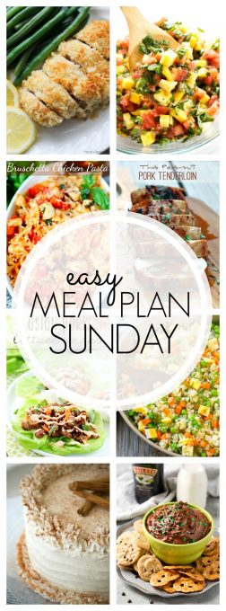 With Easy Meal Plan Sunday Week 92 - six dinners, two desserts, a breakfast and a healthy menu option will help get the week's meal planning done quickly!