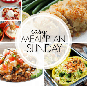 With Easy Meal Plan Sunday Week 98 - six dinners, two desserts, a breakfast and a healthy menu option will help get the week's meal planning done quickly!