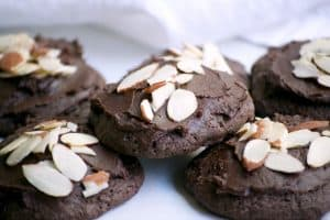 Double Chocolate Frosted Almond Cookies