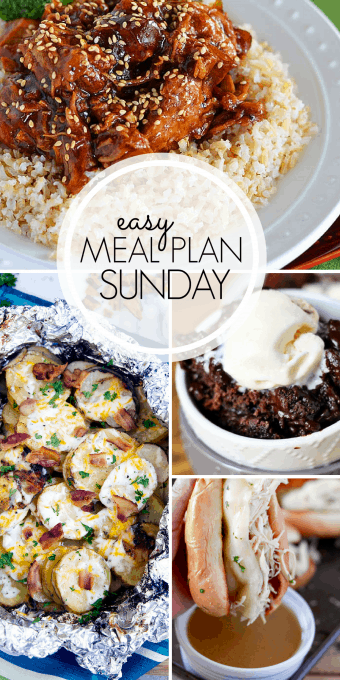 With Easy Meal Plan Sunday Week 99 - six dinners, two desserts, a breakfast and a healthy menu option will help get the week's meal planning done quickly!