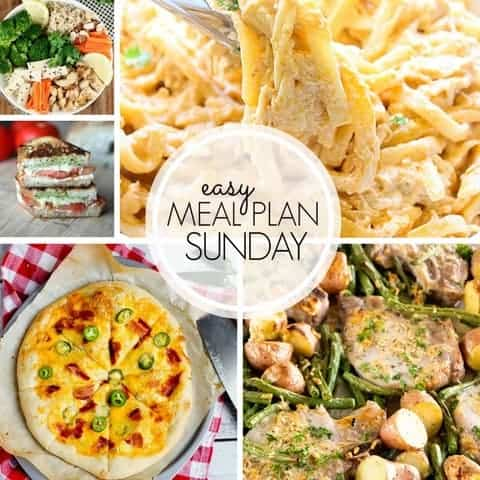 With Easy Meal Plan Sunday Week 103 - six dinners, two desserts, a breakfast and a healthy menu option will help get the week's meal planning done quickly!