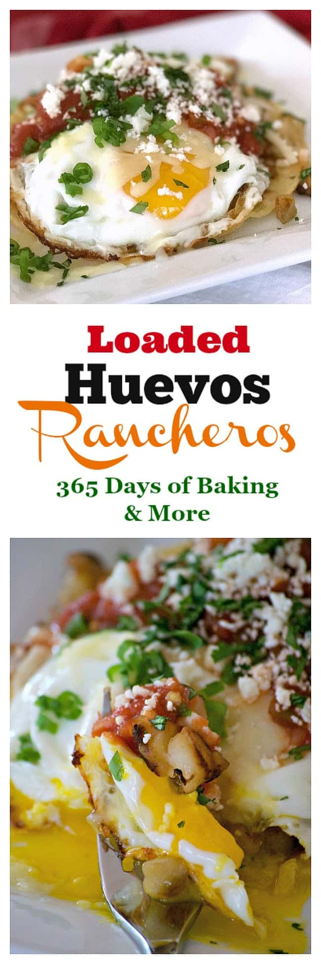 Loaded Huevos Rancheros are tortillas topped with refried beans, Potatoes O'Brien, salsa, eggs and cheese - a hearty breakfast that's full of great flavor!