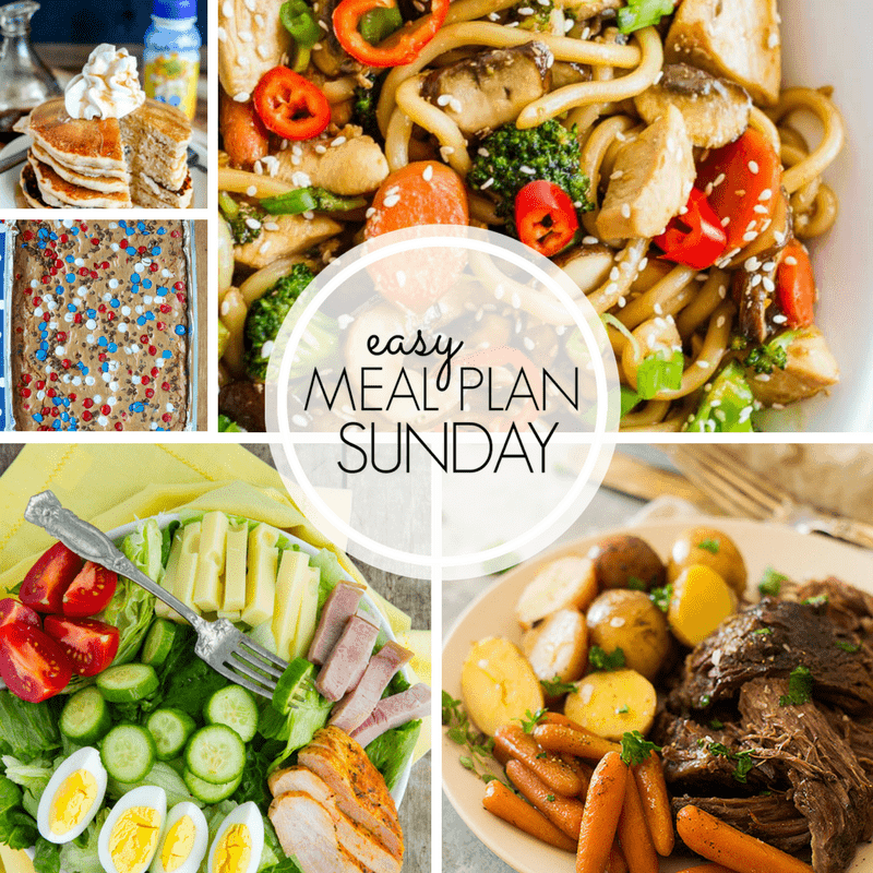 With Easy Meal Plan Sunday Week 102 - six dinners, two desserts, a breakfast and a healthy menu option will help get the week's meal planning done quickly!