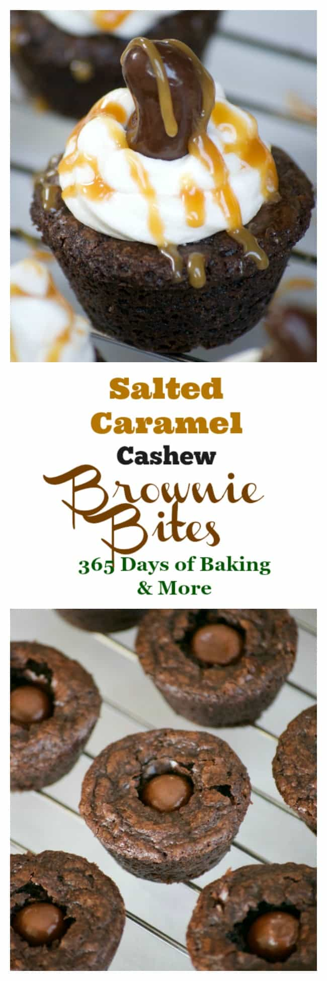 Salted Caramel Cashew Brownie Bites with a Marich Salted Caramel inside, topped with vanilla buttercream and a Marich Cashew are a great bite-sized treat!