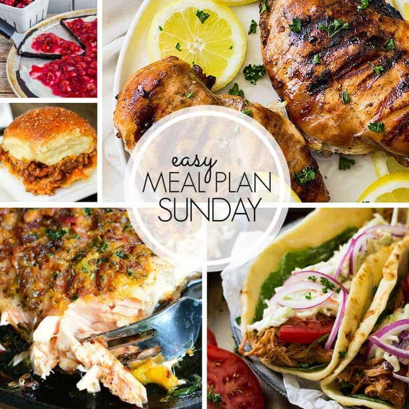 With Easy Meal Plan Sunday Week 105 - six dinners, two desserts, a breakfast and a healthy menu option will help get the week's meal planning done quickly!