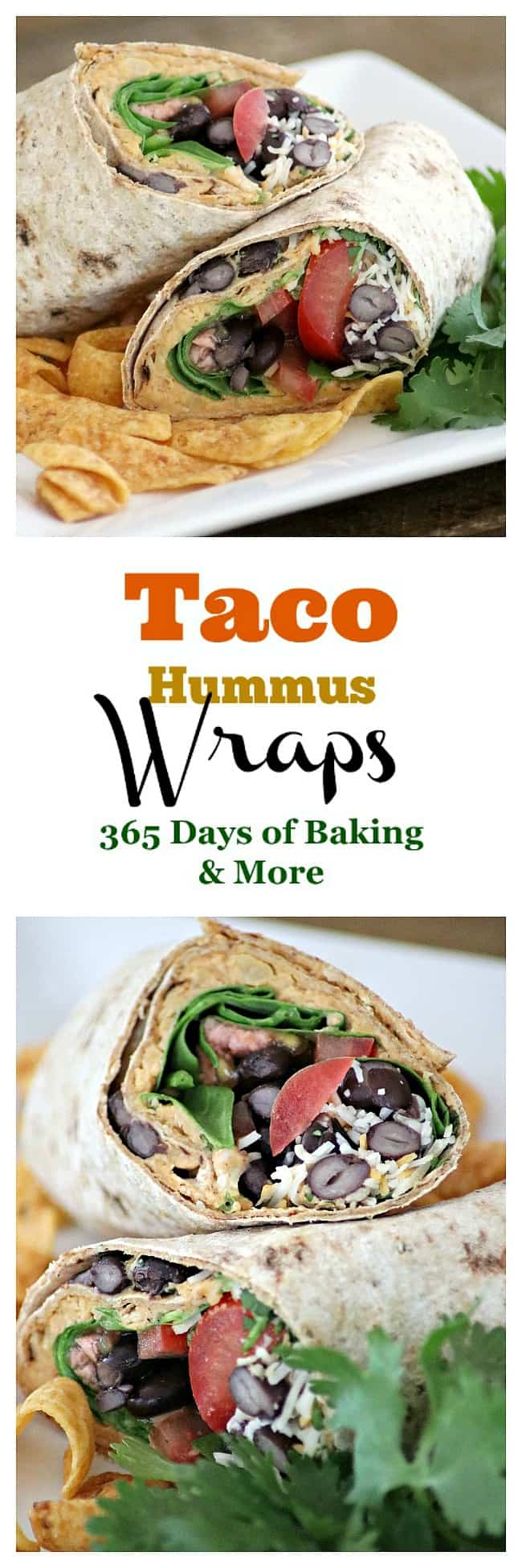 These Taco Hummus Wraps are a tasty way to change things up for Taco Tuesday and the homemade hummus is a great base for your favorite fixin's.