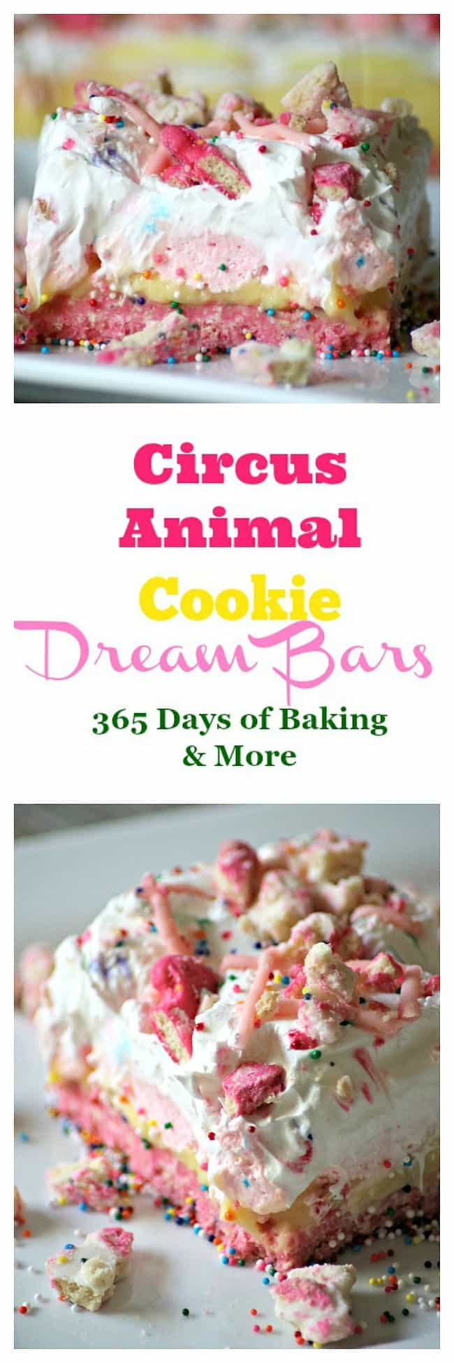 Circus Animal Cookie Dream Bars with a cookie crust and sweet, colorful layers are a fun, No Bake dessert that's sure to bring out the kid in anyone!