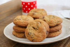There's nothing quite like that feeling when you bite into Soft and Chewy Chocolate Chip Cookies. Two secret ingredients add flavor and texture, and whether they remind you of Grandma's kitchen or your favorite bakery, these cookies will immediately have you pouring a glass of milk to dunk them in.